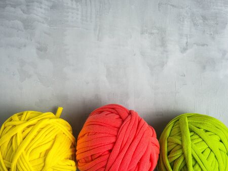 Colorful t-shirt yarn. Zero waste concept. Reuse t-shirt