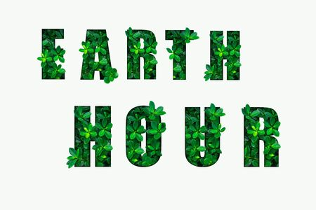 EARTH HOUR text on white background. Green leaves background.