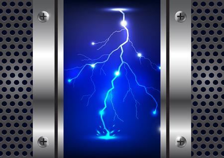 rainstorm: lightning with metal gate illustration