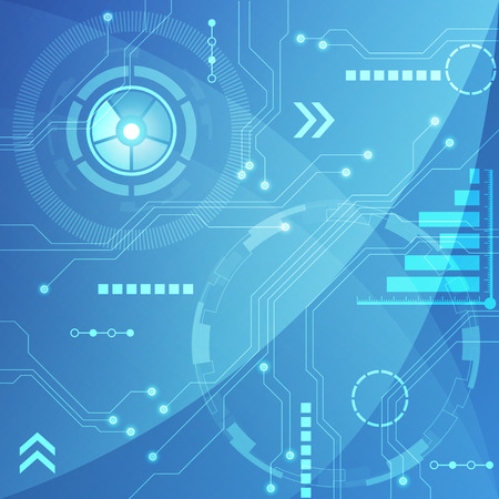 communicatio: Blue Abstract technology circuit Background, vector illustration