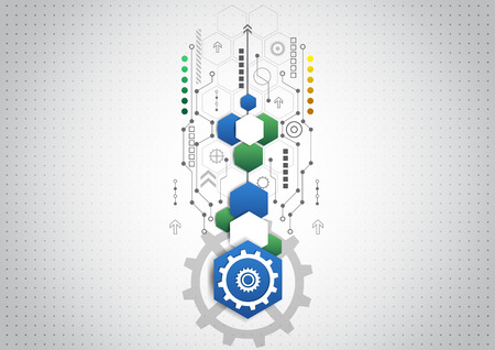 technology banner: Abstract technological background with various technological elements