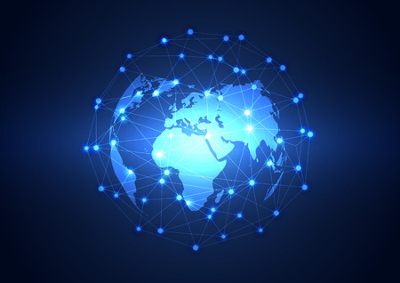 advance: Global business network technology background, vector Illustration