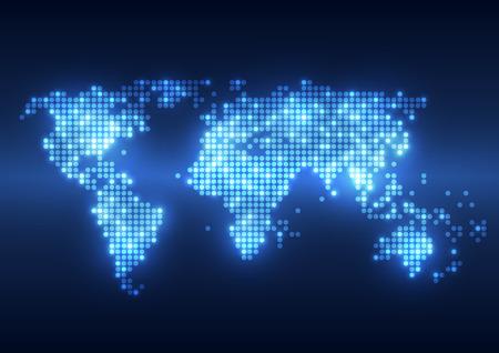 mapa mundi: Tecnolog�a abstracta fondos digitales con mapa de la Tierra Vectores