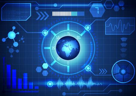 tecnologia virtual: Interfaz Fondo moderno tecnolog�a virtual, vector
