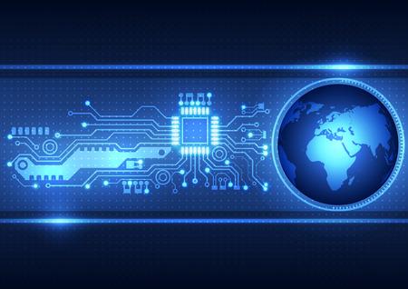 circuitos electricos: Fondo abstracto placa de circuito con, global ilustración vectorial