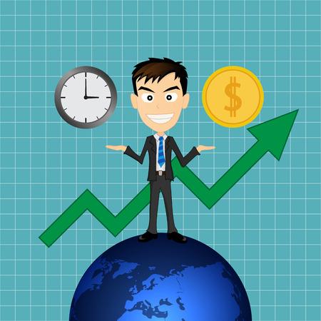 equidad: éxito hombre de negocios con el tiempo y el dinero Vectores