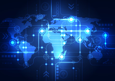 high tech world: Abstract global network technology background, vector