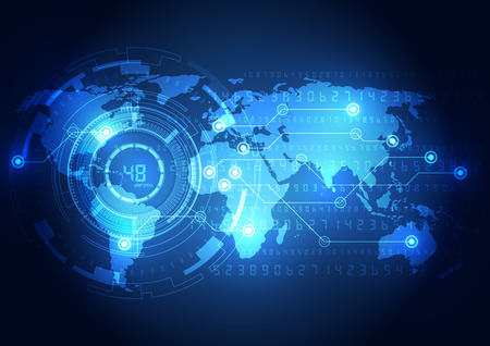 Abstracte wereldwijde technologie concept achtergrond, vector illustratie Stockfoto - 34735008