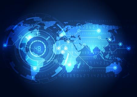 alrededor del mundo: Concepto de fondo abstracto de tecnolog�a global, ilustraci�n vectorial