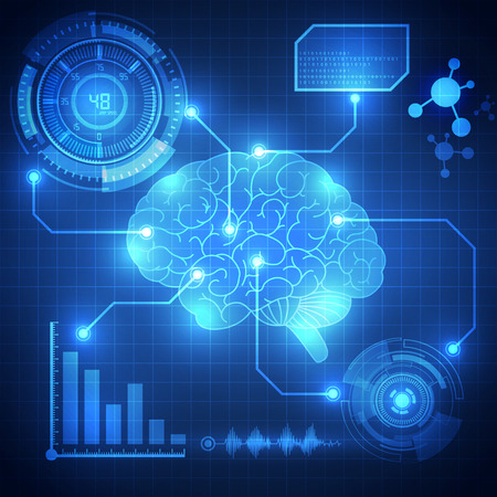 Abstract digital brain,technology concept background vector