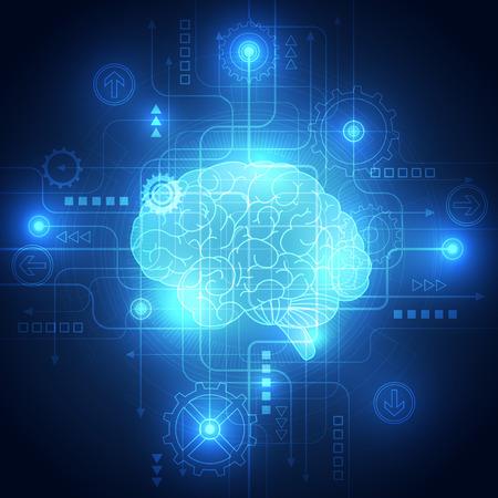circuitos electronicos: Cerebro digital abstracto circuito eléctrico, concepto de la tecnología