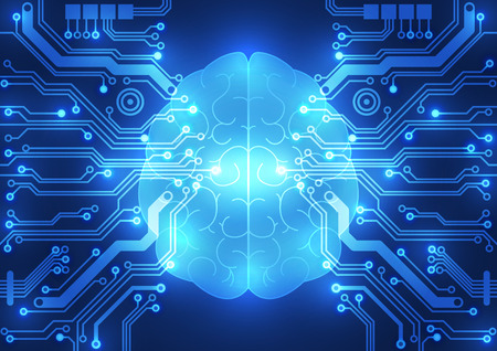 electric circuit: Abstract electric circuit digital brain,technology concept