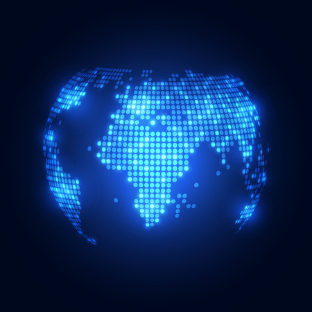 Abstract technology digital backgrounds with world map
