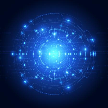 circuitos electricos: Resumen de tecnología de fondo azul. Ilustración del vector.