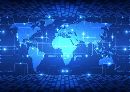 kosmos: Vektor abstrakte globale Zukunftstechnologie Elektrotelekommunikations Hintergrund