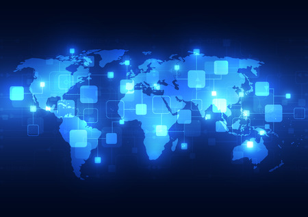 Abstracte wereldwijde technologie telecommunicatie achtergrond, vector illustratie Vector Illustratie