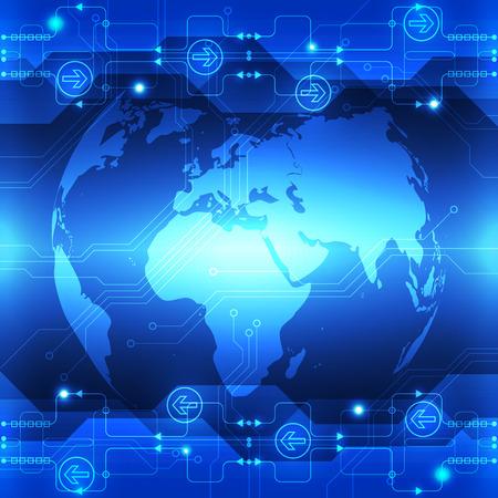 telecoms: vettore astratto tecnologia globale futuro, telecomunicazioni elettriche fondo