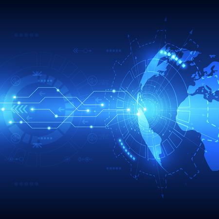 wereldbol: Abstracte wereldwijde toekomstige technologie achtergrond, vector illustratie Stock Illustratie