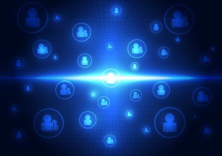 abstracte technologie sociaal netwerk concept achtergrond, vector illustratie