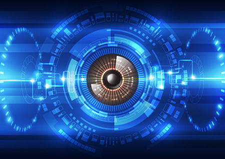 blue eye: abstract future technology  security system background, vector illustration