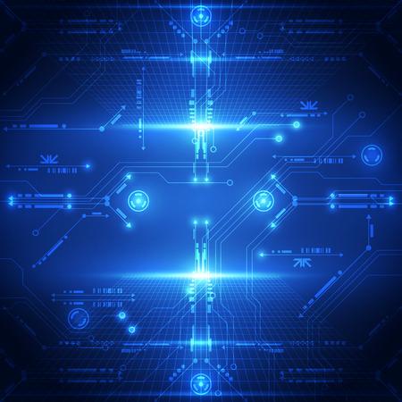 将来の技術システムのバック グラウンドを抽象化、ベクトル イラスト  イラスト・ベクター素材