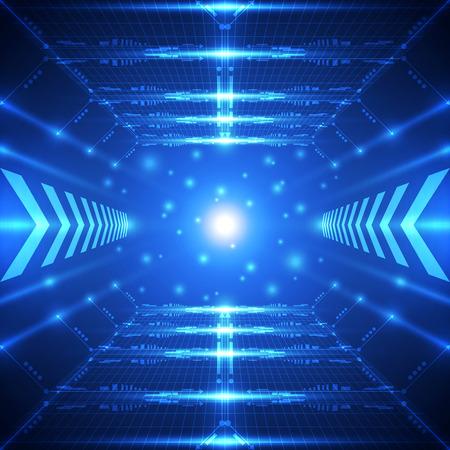 tunel: Fondo del concepto de la tecnología del futuro abstracto, ilustración vectorial