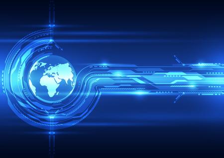 circuito integrado: Fondo abstracto de tecnología global futuro, ilustración vectorial