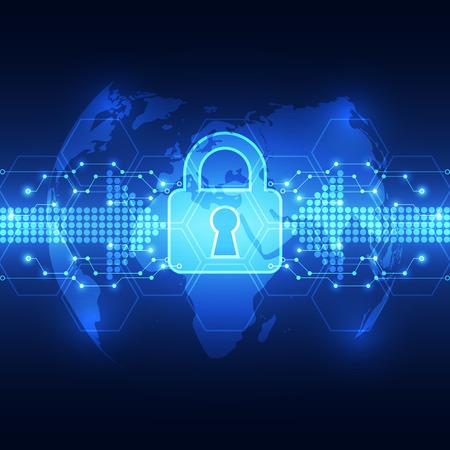 privacy: Seguridad de la tecnolog�a abstracto en fondo de la red global, ilustraci�n vectorial