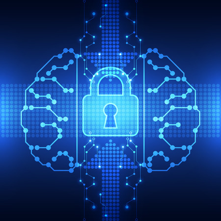 security technology: Abstract technology security on network background, vector illustration