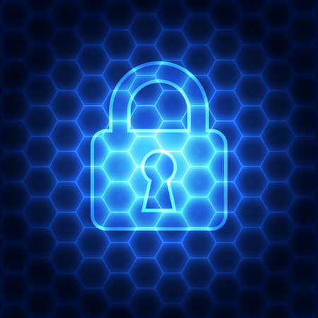 data theft: Abstract technology security on network background, vector illustration