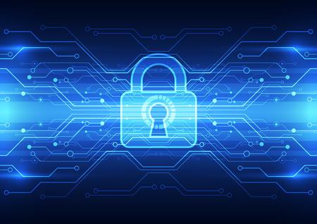 Abstrakte Technologie Sicherheit auf globales Netzwerk Hintergrund, Vektor-Illustration Vektorgrafik