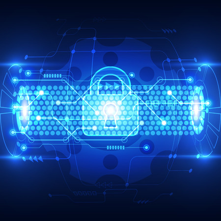 shielding: Abstract technology security on global network background, vector illustration Illustration