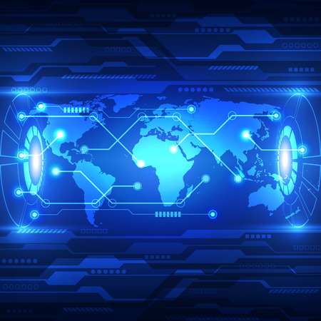 벡터 추상적 인 세계 미래 기술, 전기 통신 배경