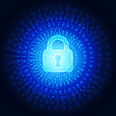 security technology: Abstract technology security on global network background, vector illustration Illustration