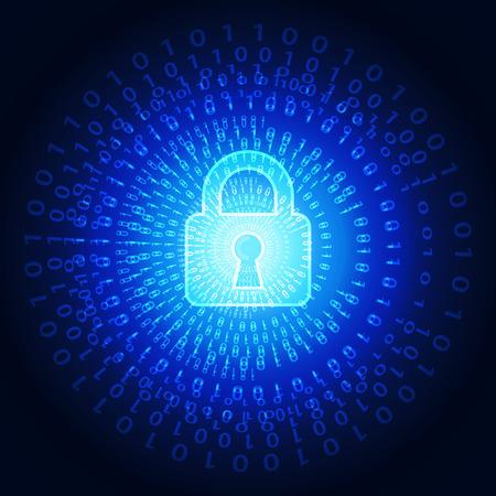 virus alert: Abstract technology security on global network background, vector illustration Illustration