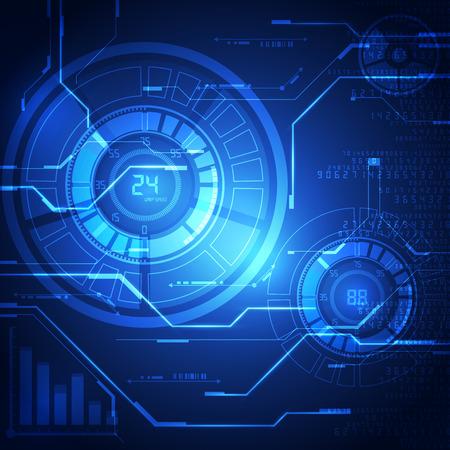 テクノロジー: 抽象的なベクトルの背景。未来的な技術スタイル。  イラスト・ベクター素材