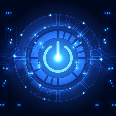 vector technology power button abstract background, illustration Vettoriali