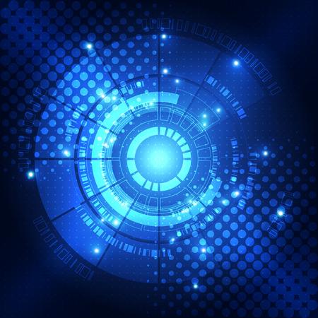 ojo azul: concepto de la tecnolog�a digital, fondo abstracto Vectores