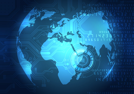 globo terraqueo: vector de la tecnología digital global concepto, fondo abstracto Vectores