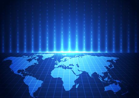 vektor digitální globální komunikační technologie, abstraktní pozadí Ilustrace