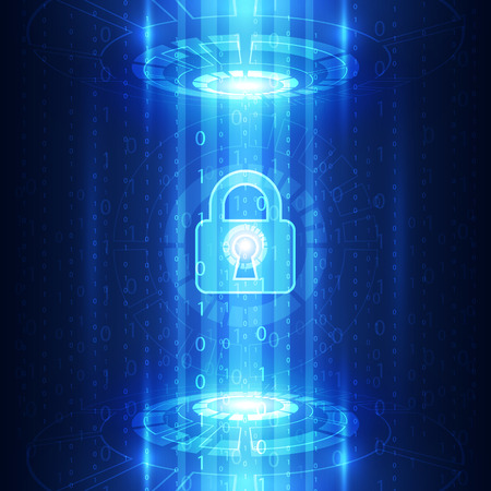 Abstract technology security on global network background, vector illustration Illustration