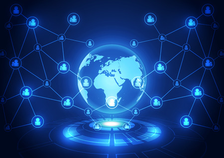 tecnologia comunicacion: digital de la tecnolog�a de comunicaci�n mundial vector, fondo abstracto Vectores