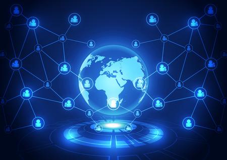 globális kommunikációs: vektoros digitális globális kommunikációs technológia, absztrakt háttér Illusztráció