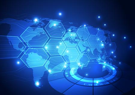 wereldbol: vector digitale wereldwijde technologie concept, abstracte achtergrond Stock Illustratie