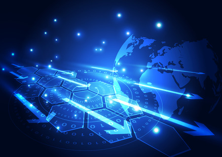 technology background: vector digital global communication technology, abstract background