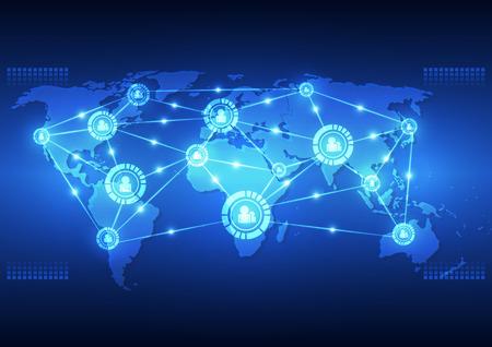 tecnologia comunicacion: vector de la tecnolog�a de la comunicaci�n global digital de fondo abstracto