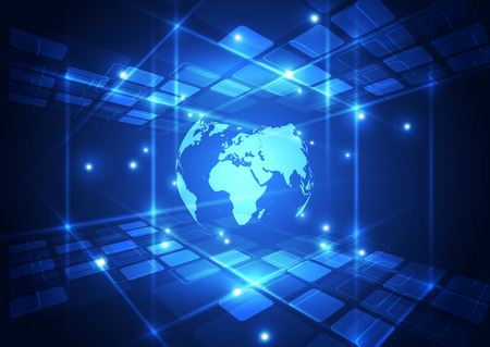 blue network: vector digital global communication technology abstract background