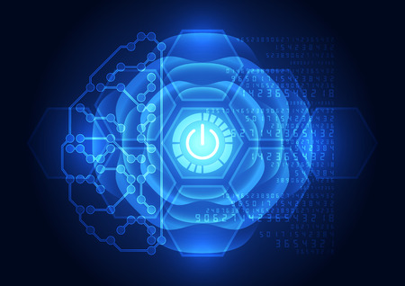 electric circuit: Abstract electric circuit digital braintechnology concept Illustration