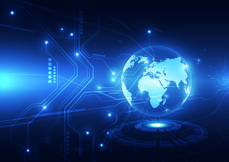 digital global technology concept abstract background Vectores