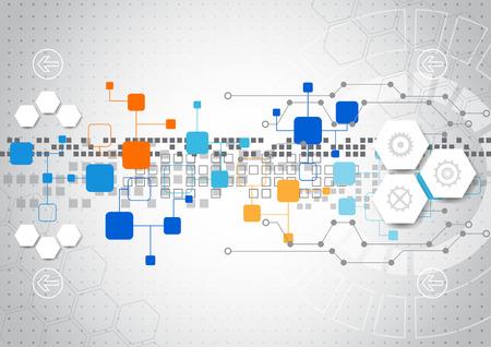 технология: Абстрактный фон технологии с различными технологическими элементами Иллюстрация